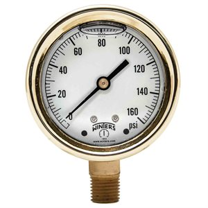 FORGED BRASS CASE GAUGE BRASS 2.5'' 0-160 PSI 1 / 4'' NPT LM BR SOCKET