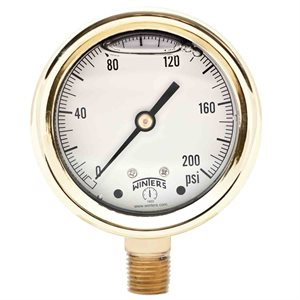 FORGED BRASS CASE GAUGE BRASS 2.5'' 0-200 PSI 1 / 4'' NPT LM BR SOCKET
