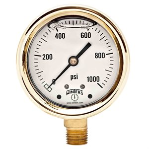 FORGED BRASS CASE GAUGE BRASS 2.5'' 0-1000 PSI 1 / 4'' NPT LM BR SOCKET