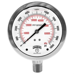 4.0''DIAL, SS STABILIZER PREMIUM, 0-600 PSI / KPA, 1 / 4''BACK