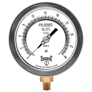 "4"" TEST GAUGE 0 / 30 PSI 1 / 4"" NPT BOTTOM"