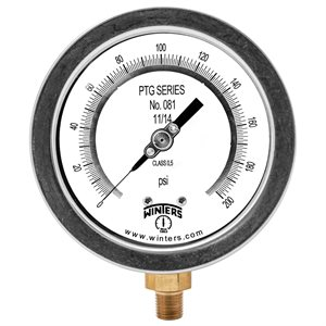 "4"" TEST GAUGE 0 / 200 PSI 1 / 4"" NPT BOTTOM"