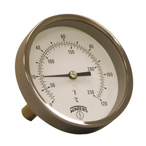 HVAC Bi-Metal Thermometer Metallic 2'' Steel 3.5'' 30 / 250 F / C 1 / 2'' NPT Cente Back Brass Thermowell