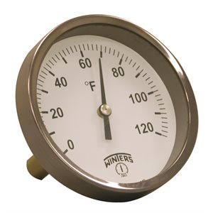 HVAC Bi-Metal Thermometer Metallic 2'' Steel 3.5'' 0120 F 1 / 2'' NPT Centre Back Brass Thermowell