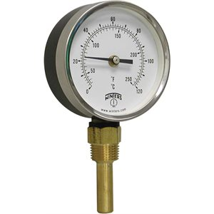 HVAC Bi-Metal Thermometer Metallic 2'' Steel 3.5'' 30 / 250 F / C 1 / 2'' NPT Bottom Brass Thermowell